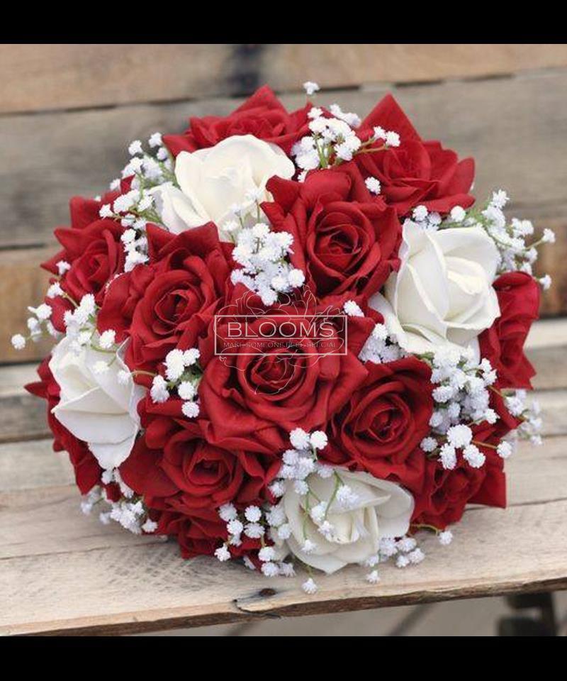საქორწინო თაიგული 20 წითელი და თეთრი ვარდით