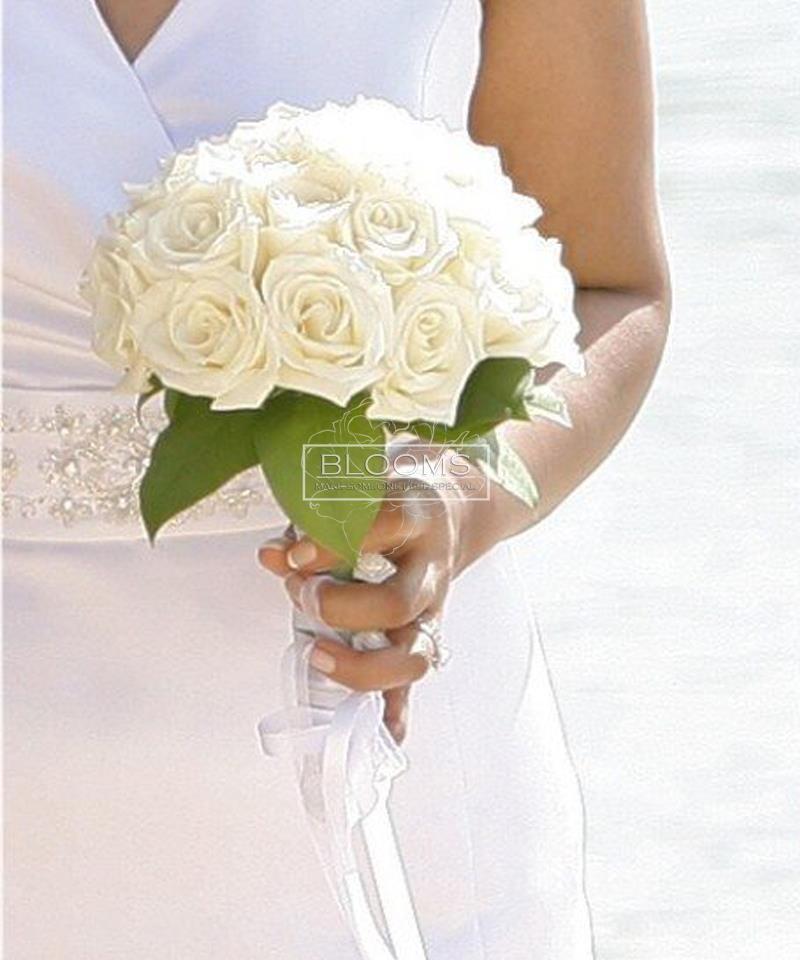 საქორწინო თაიგული 15 თეთრი ვარდით