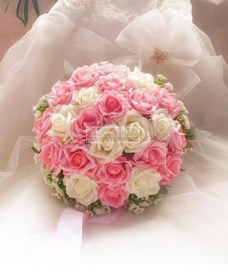 საქორწინო თაიგული 25 ვარდით და გიფსოლიით